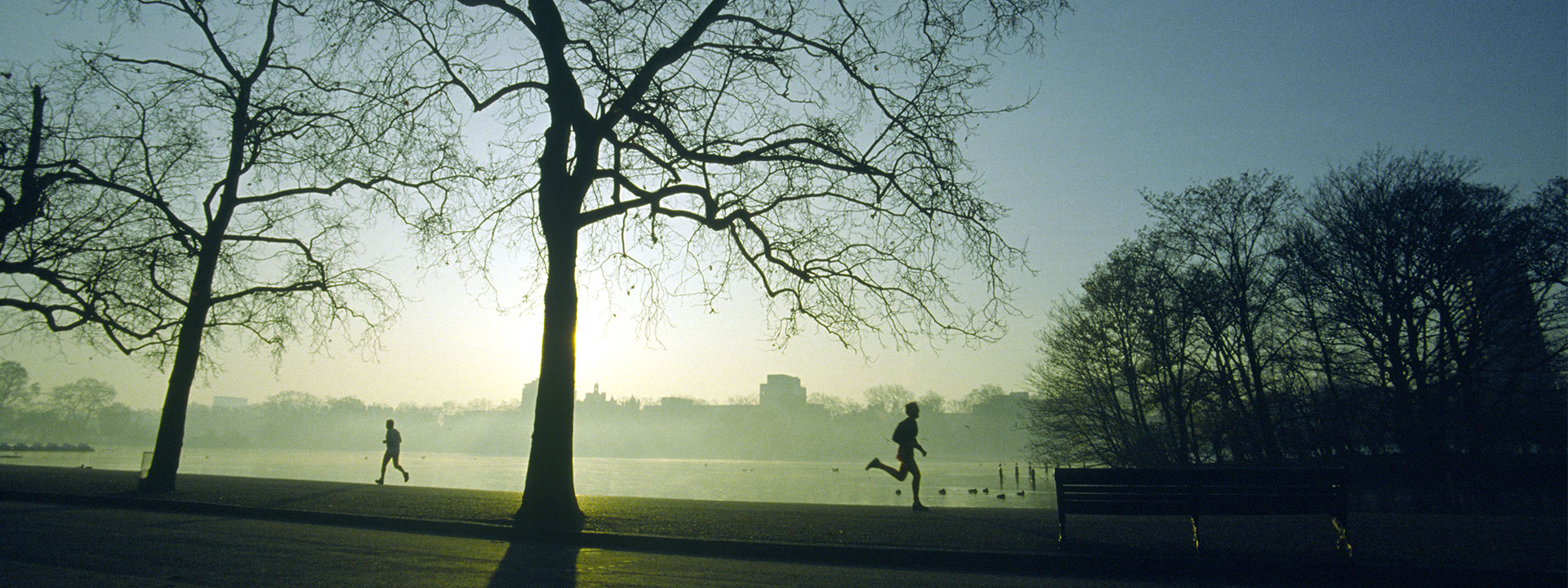 Two men running in Hyde Park