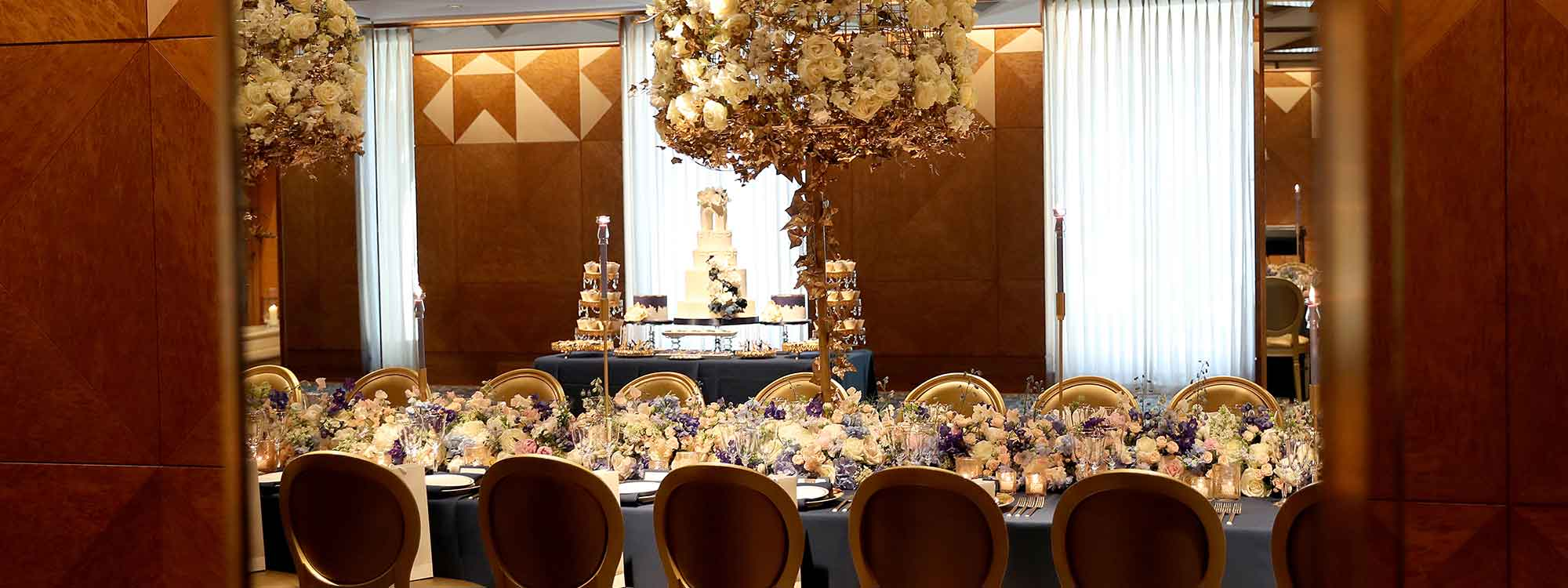 Ballroom prepared for a wedding