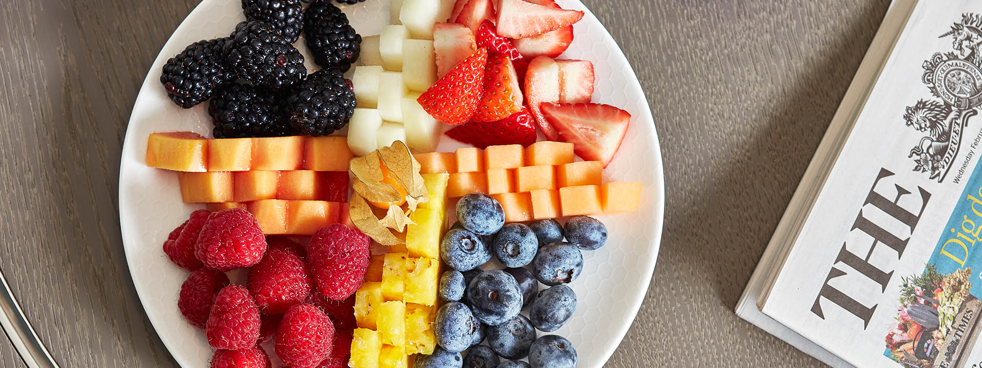 Fresh fruit breakfast on round white plate at The Berkeley